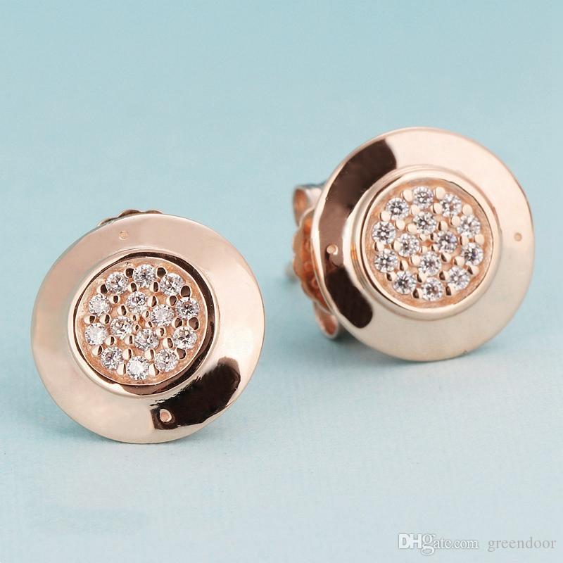 وارتفعت العلامة التجارية الأقراط الفاخرة الجديدة 925 الفضة الاسترليني لباندورا الذهب والمجوهرات تشيكوسلوفاكيا الماس أزياء السيدات ذات جودة عالية الأقراط