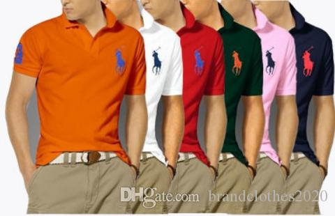 최고 품질 패션 디자이너 RL 레이싱 폴로 브랜드 폴로 # 011 US 오프 럭셔리 여름 남성 짧은 캐주얼 화이트 자수 옷깃 T 셔츠 슬리브