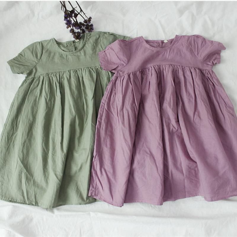 2019 verano nuevo estilo de Corea del algodón de lino vestido de los bebés de gran tamaño sueltos para niños sólidos de chicas de color Ropa Para J190619 3-8Y