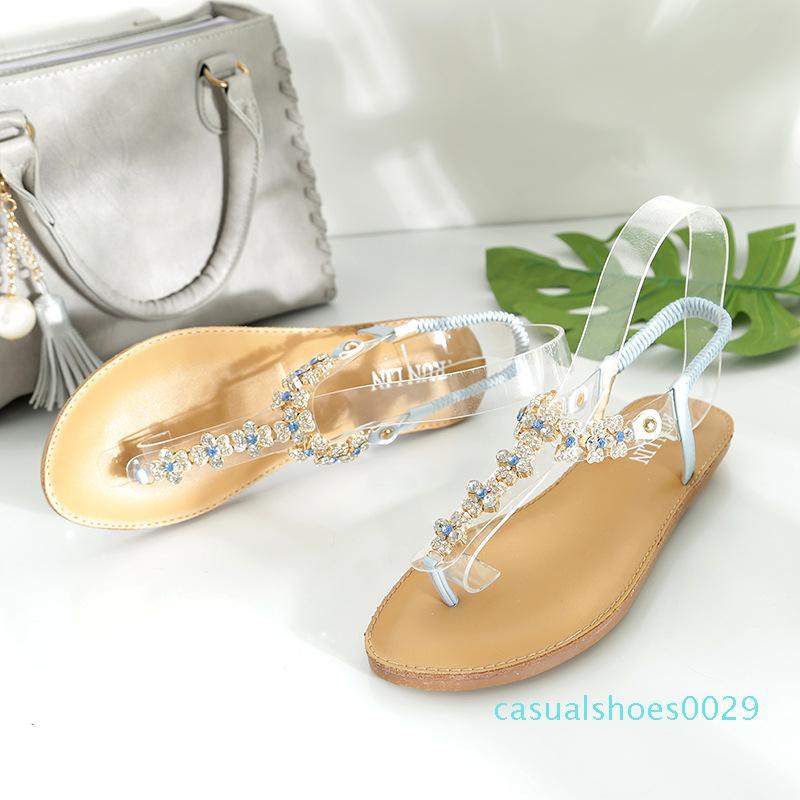 offre transfrontalière de 2018 sandales nouveau style d'été, tongs-T style talon plat femmes mode casual sandales T201 C29