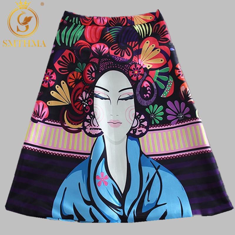 SMTHMA femmes modèles Jupe Femmes Mode satin piste Jupe Vintage Retro Floral Rose Imprimer Jupe plissée Y200326