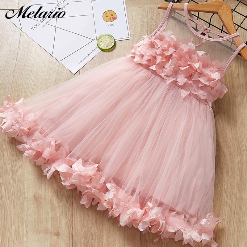 Melario Mädchen-Kleider Neue süße Prinzessin-Kleid-Baby-Kind-Mädchen Kleidung Hochzeit Kleider Kinder Kleidung Rosa Applikationen CX200603