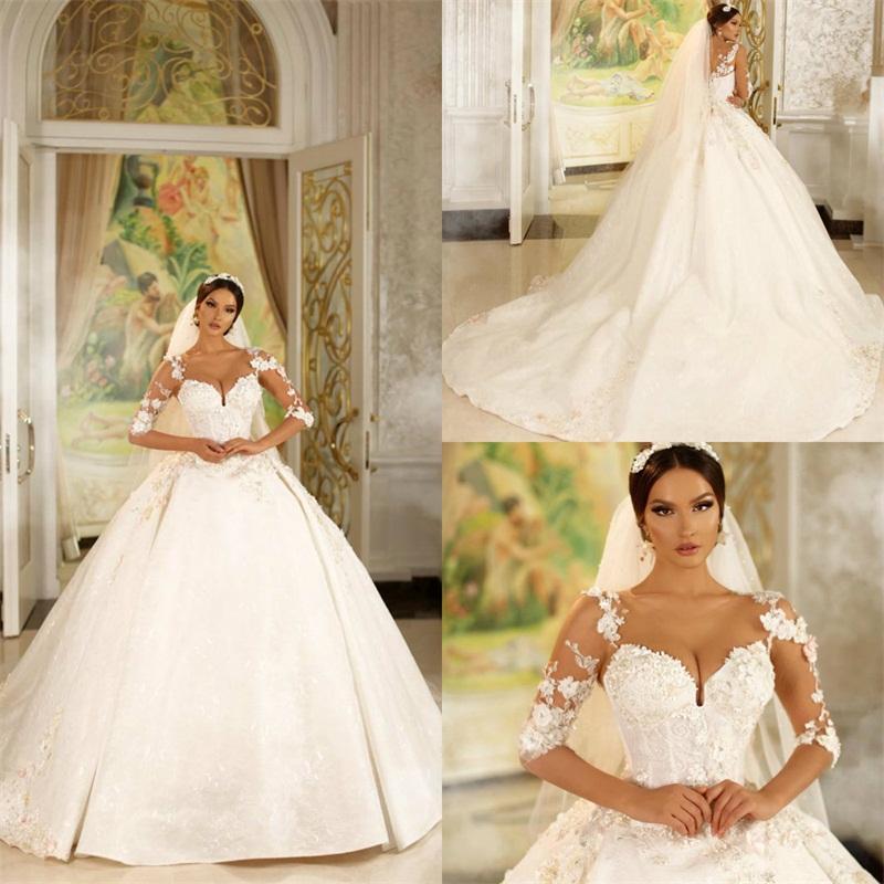Vestido de novia de las lentejuelas apliques de encaje con cuentas 2020 de bola del vestido de boda de los vestidos de novia de manga larga 3D-floral barrer de tren Vestidos de boda acanalada