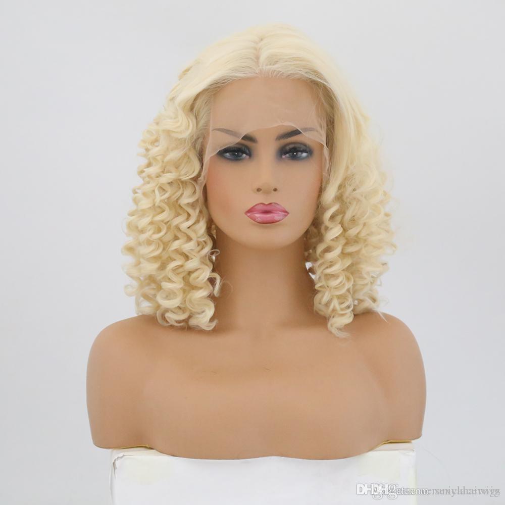 Natürlicher Haarstrich kurze lockige blonde Haarfarbe synthetische Spitze-Front Perücken Hitzebeständige Faser Halb Hand gebunden Perücken für Frauen