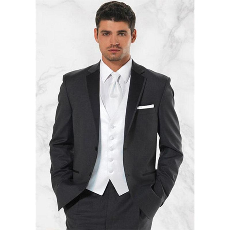 High quality Two Buttons Dark Gray Groom Tuxedos Notch LapelWedding Men Suit Bridegroom mens Suits 2019 (Jacket+Pant+vest)