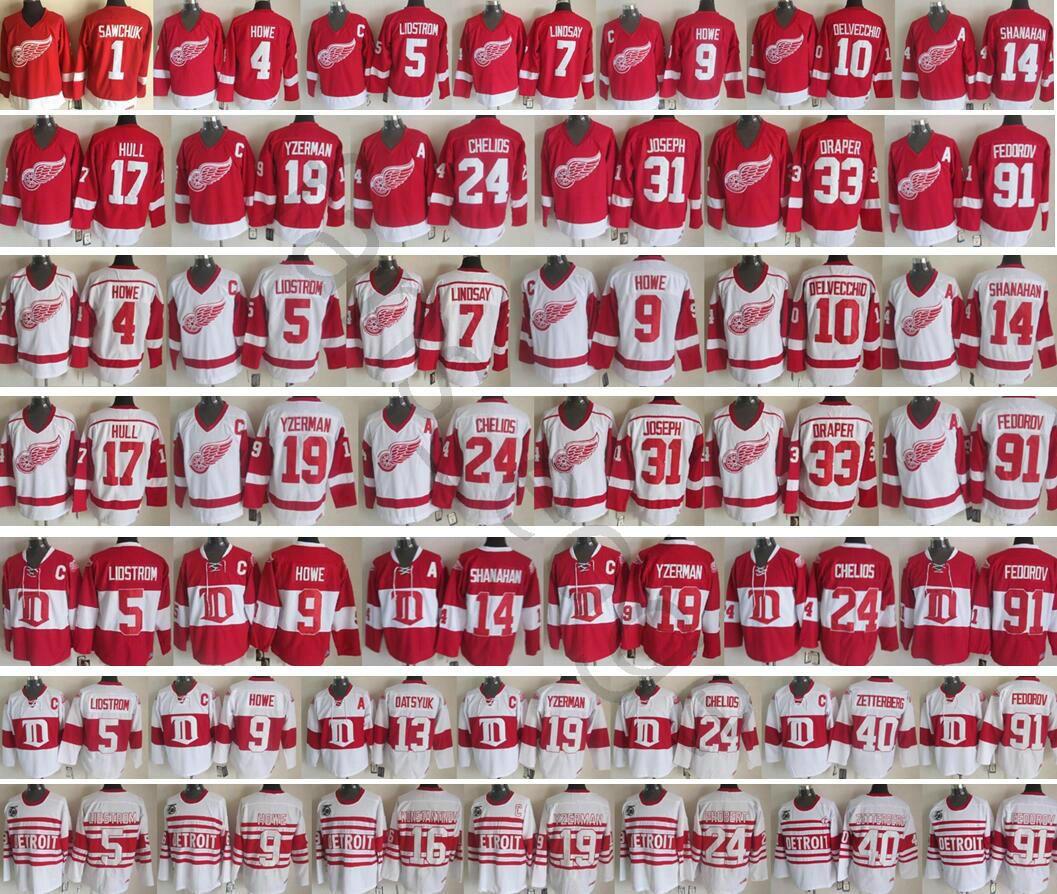 Detroit Red Wings Inverno Clássico # 19 Steve Yzerman 91 Sergei Fedorov 7 Ted Lindsay 10 Alex Delvecchio 71 Larkin Men Hockey Jersey