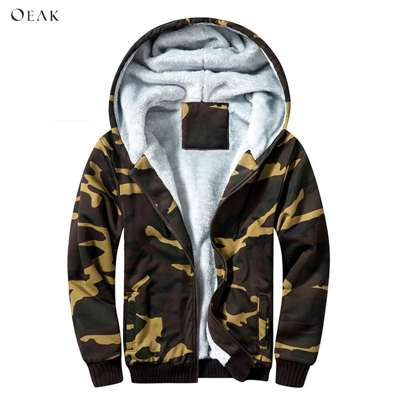Domple Mens Linen Fleece Windbreaker Camo Print Hooded Thicken Long Jacket