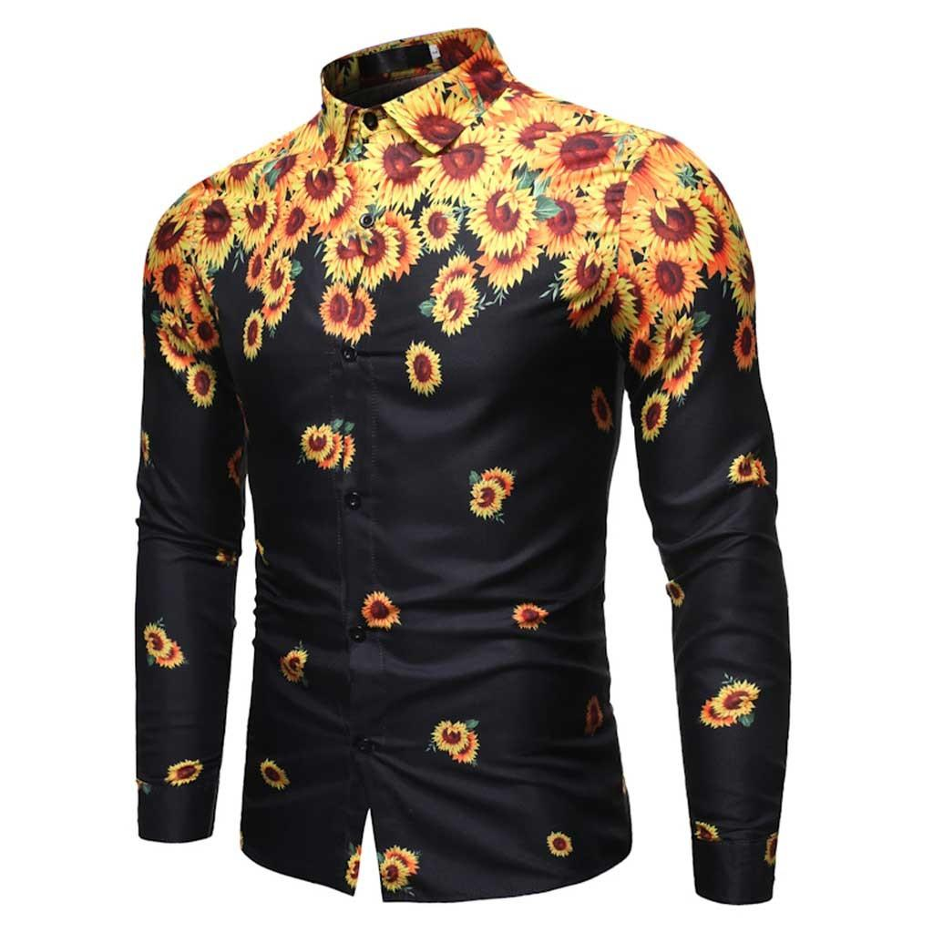 2019 Camisa de vestir para hombre Camisas de hombre de manga larga Slim Feitong Diseñador Ropa de girasol de alta calidad para hombre Camisas de negocios aptas