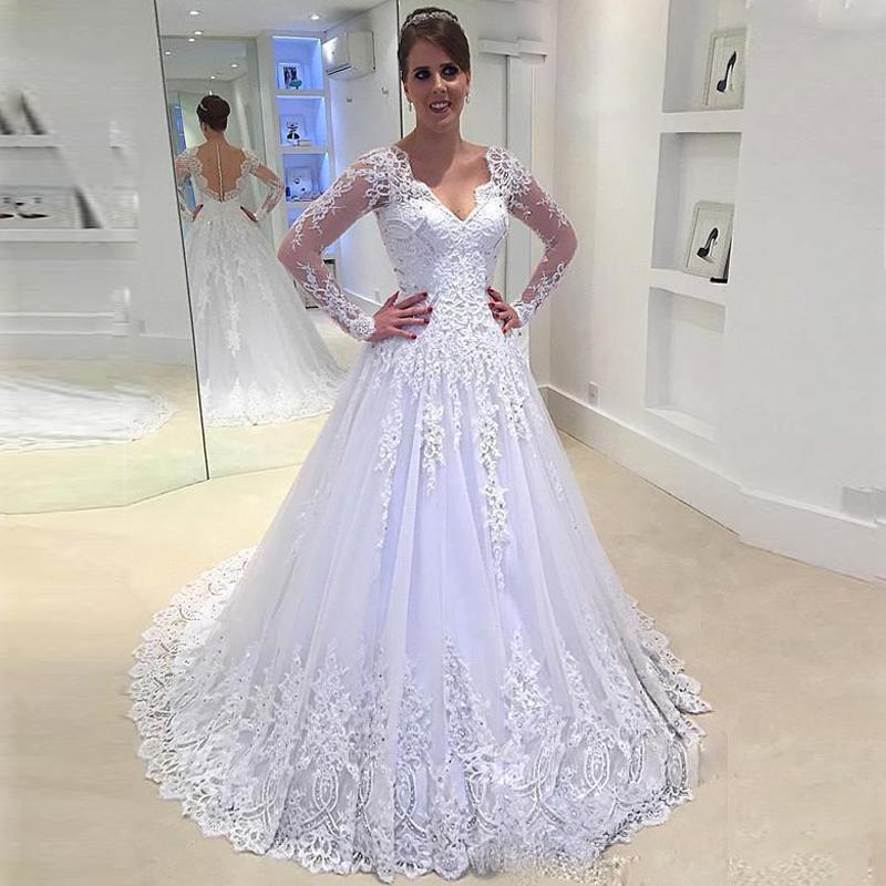 خمر V عنق فستان الزفاف يزين الرباط كاب الأكمام ألف خط ثوب الزفاف الحزب الرسمي بالاضافة الى مقاسات فستان دي Noiva 2020