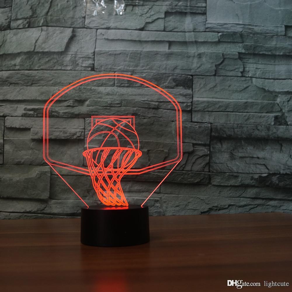 Basketbol kurulu 3D Illusion Gece Işığı Dokunmatik 7 Renk Değişimi Ev Dekorasyonu Bebek Kız Erkek LED Lamba Çocuk Hediye Noel Noel Hediye Hit