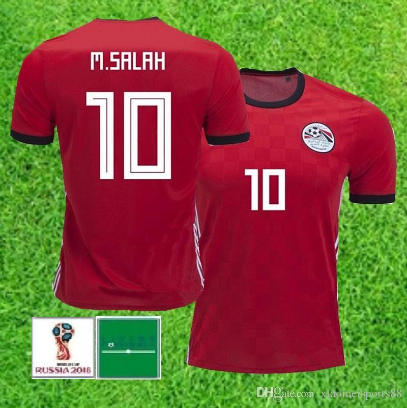 2018 월드컵 이집트 홈 축구 유니폼 이집트 # 10 M.SALAH 축구 셔츠 홈 빨강 축구 유니폼 판매