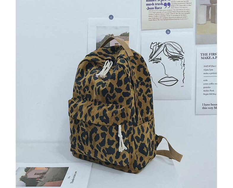 Impresión Mochila Mujeres Cremallera Grandes Escuela Corduroy Bag Brown Travel Capacidad Leopardo Piuwx