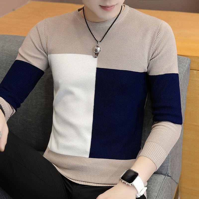 Punto de los hombres otoño invierno caliente grueso para hombre de los suéteres ocasional del remiendo del O-cuello jersey de lana Hombres Punto camiseta Hombre