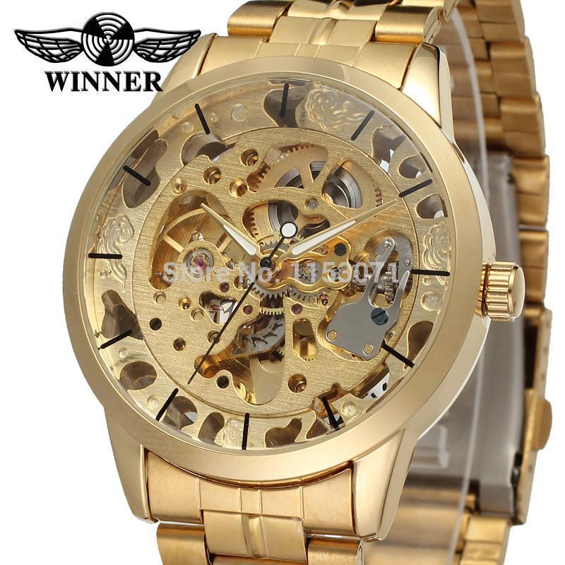 Ganador Reloj de hombre Marca de fábrica de lujo Esqueleto automático Gold Factory Company Pulsera de acero inoxidable Reloj Wrg8003m4g1 J190706