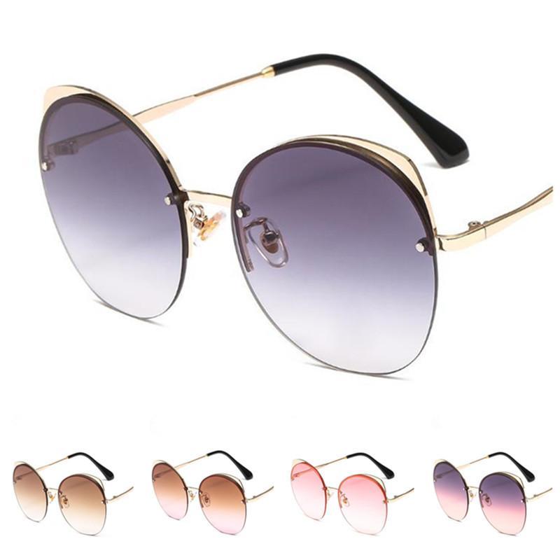 Moda Kadınlar Çerçevesiz Güneş Gradyan Lens Güneş Glasse Gözlükler Karşıtı UV Gözlük Kedi Göz Gözlükler Süs A ++