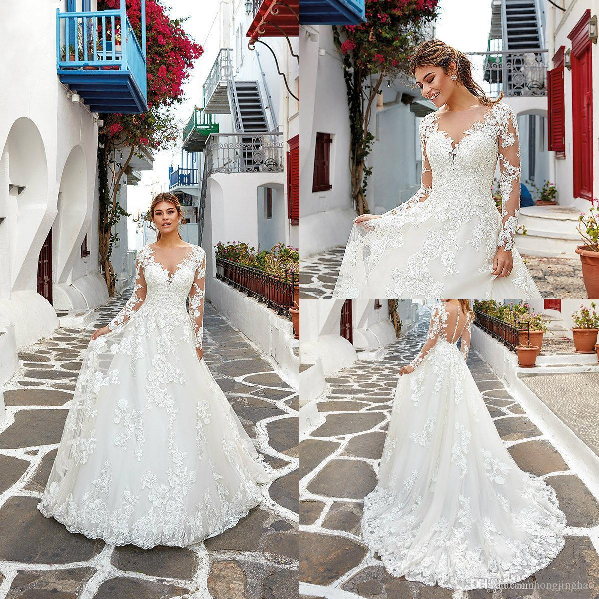 2020 A Line Wedding Dresses Sheer Jewel Neck Appliqued Long Sleeve Bridal Gowns Wedding Gowns vestido de noiva