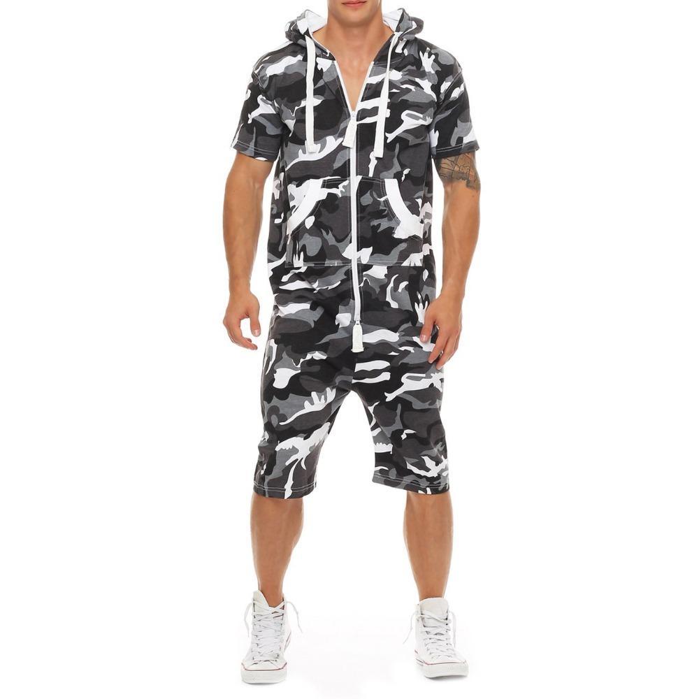 2019 캐주얼 패치 워크 Tracksuit Jumpsuit Mens 짧은 소매 스웨터 후드 Romper 플러스 크기 3xl Mens Overalls Sportswear
