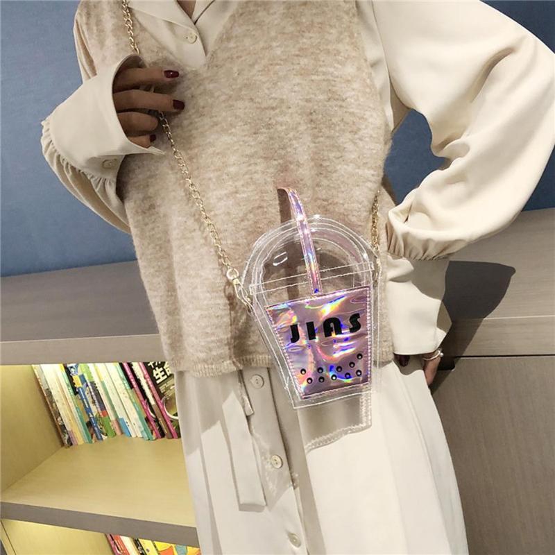Nouveau mode Sacs à main femmes épaule mignon tasse de café Sac PVC transparent Mini Purse Laser Sac Messenger Loisirs quotidien shopping