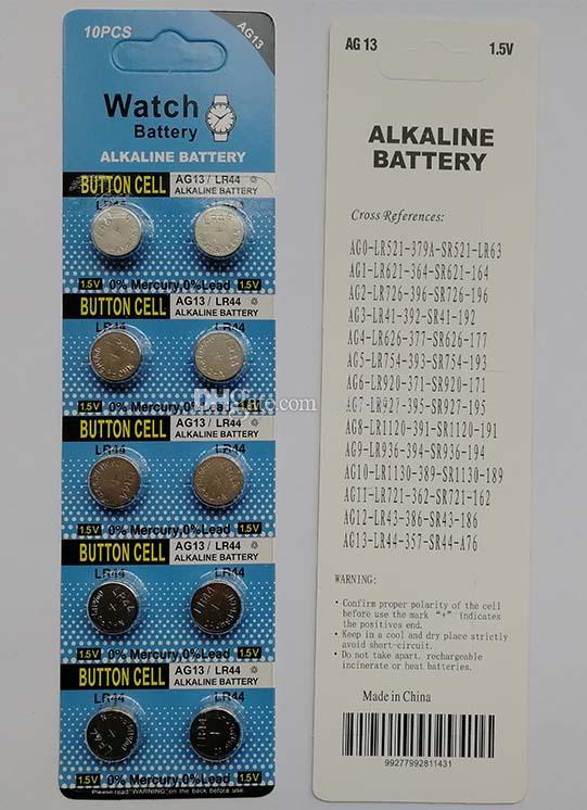 600 بطاقات / الكثير 1.5 فولت بطاريات ag13 lr44 a76 القلوية زر عملة البطارية للساعات اللعب 10 قطع لكل بطاقة نفطة