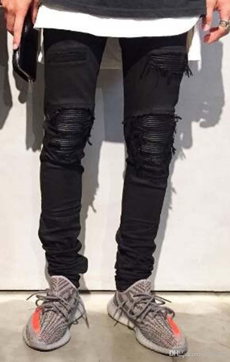 Men Casual jeans Hiphop Draped Zipper jeans denim Patchwork Knees Holes pants Tassel Scratched Washed high quality Free Shipping