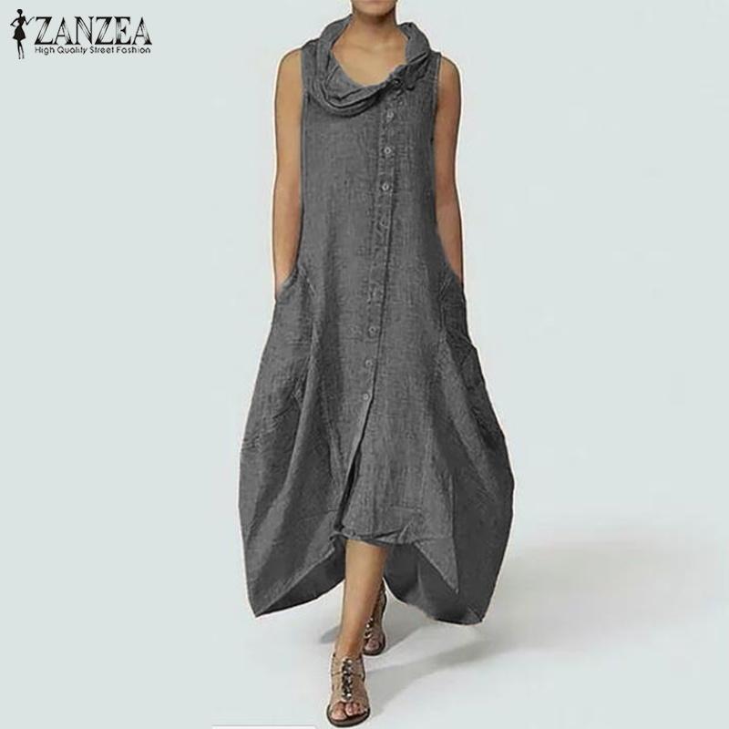 Zanzea زائد الحجم المرأة فستان طويل ماكسي أنيق غير المتكافئة الرقبة فساتين أكمام قميص طويل vestido القطن الكتان رداء فام Y19050805
