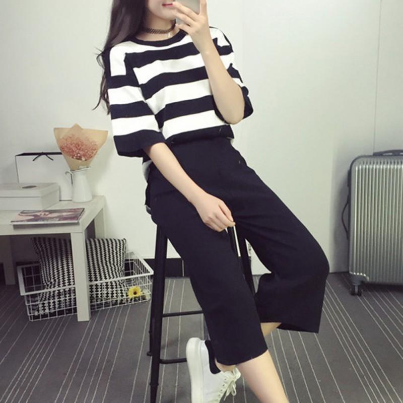 Kadınlar Yaz Pamuk Günlük Pantolon Suit Set Moda Çizgili T Gömlek ve Pantolon Bayan 2 Parça Setler Kadınlar Eşofman