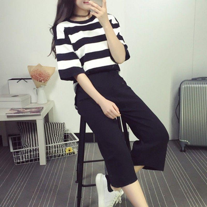 Mulheres Verão Algodão Calça Casual Suits Set Moda Striped T camisa e calças fêmeas 2 conjuntos de peças mulheres agasalho