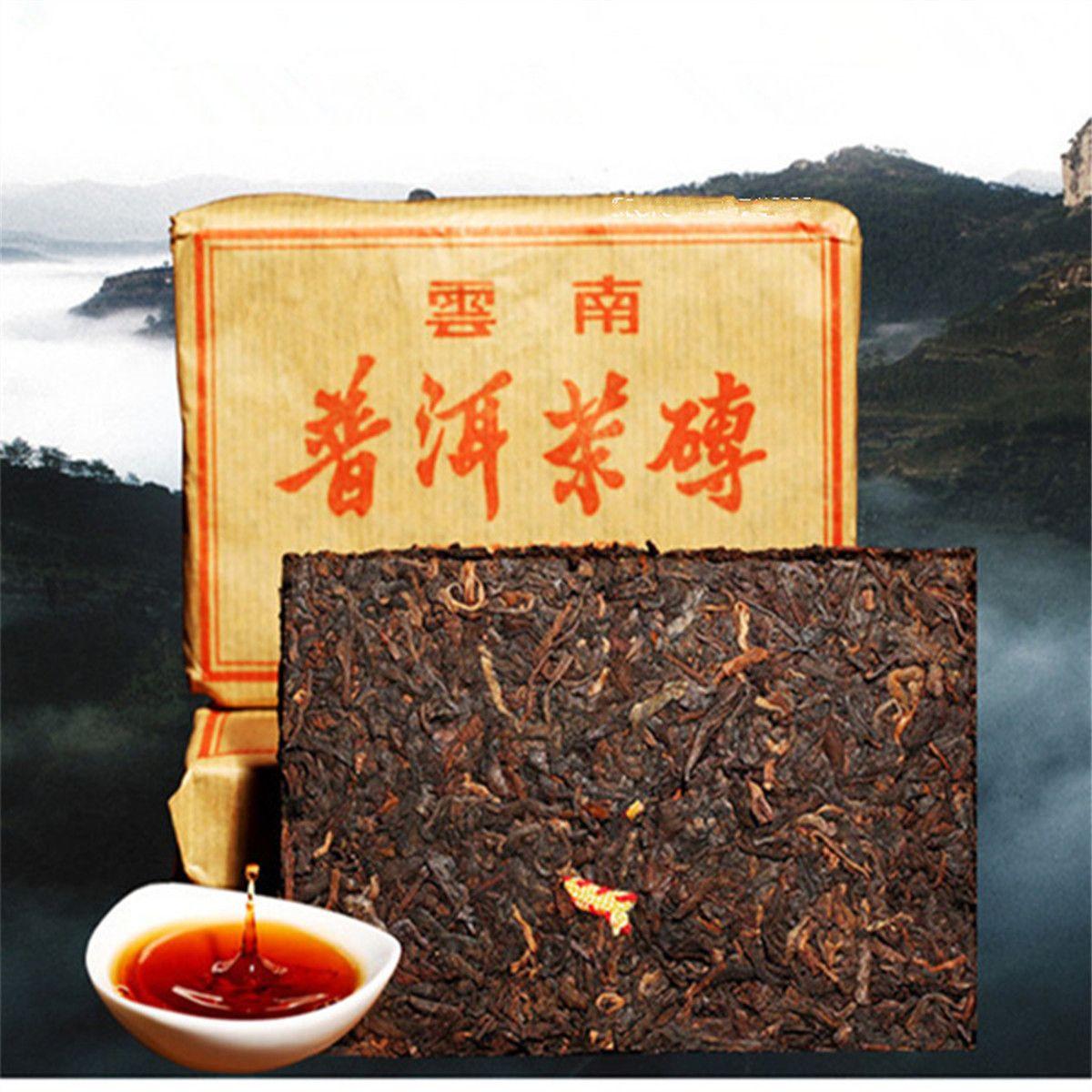 Promosyon 100g Yunnan Geleneksel Mat-kırmızı Puer Çay Tuğla Olgun Pu Er Çay Organik Doğal Siyah Pu'er Çay Tuğla Eski Ağacı Puer Pişmiş