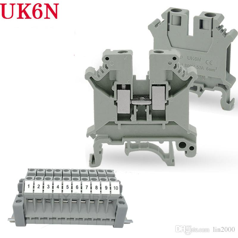 UK6n UK Series DIN Rail Screw Clamp Terminal Blocks Assembly Strip Kit
