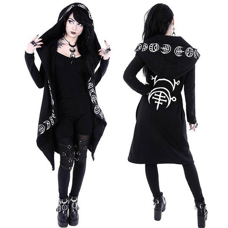 Capa de las mujeres de la venta caliente larga encapuchada gótico punky de la manga de la chaqueta informal magia bruja Asistente de Cosplay con capucha largas de la moda otoño CoatMX190930