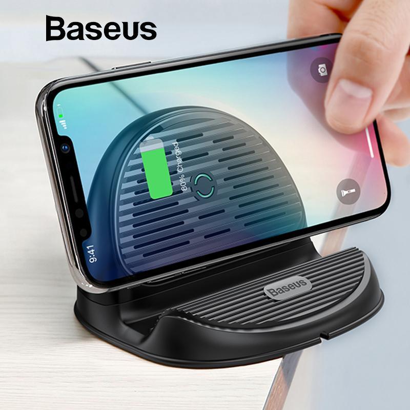 Carregador sem fio Baseus desktop QI 10W Irradiando Fan rápida sem fio de carregamento Carregador para iPhone XS Max XR Samsung S9 Note9 Huawei