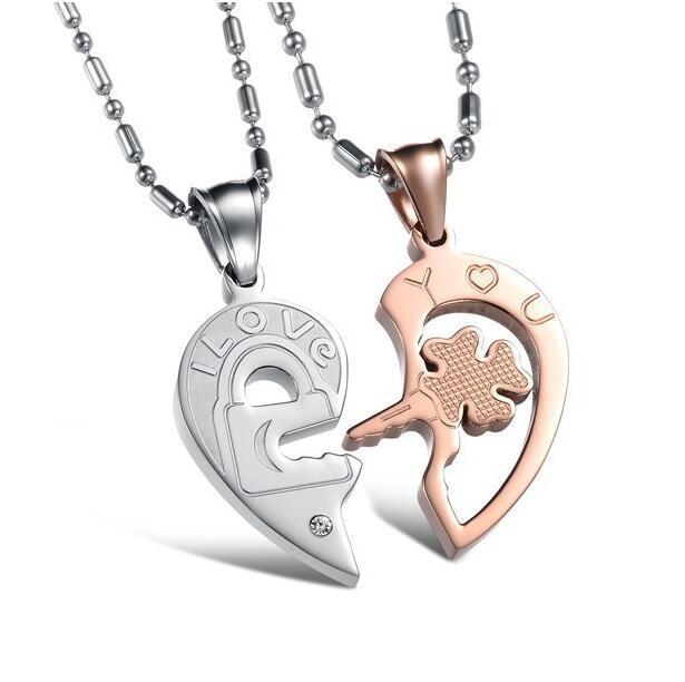 chiave di puzzle delle coppie amanti di alta qualità di diamante in acciaio coreano gioielli in titanio moda di moda Collana Donne