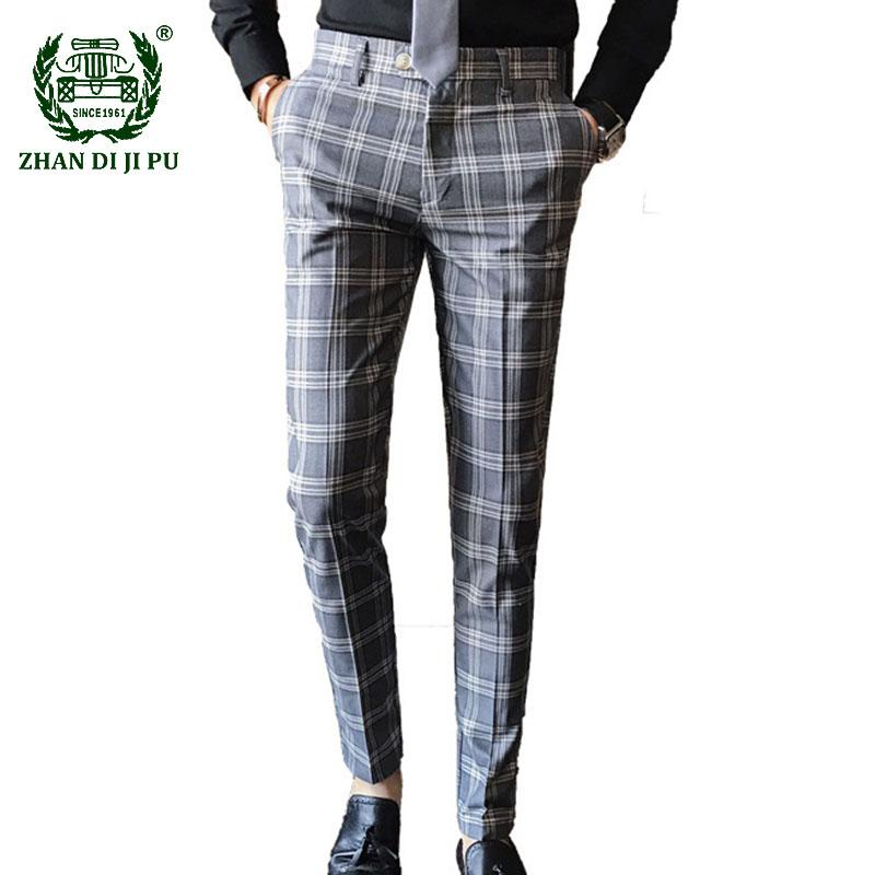 2021 Mens Plaid Suit Pants Plus Size British Business Casual Slim Fit Dress Pant Men Wedding Party Formal Pants Pantalones Hombre From Mufuzuo 39 91 Dhgate Com