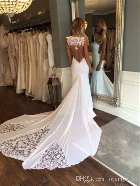 2020 Lace Chiffon Beach Wedding Dresses Mermaid Style Sheer Neckline See Though Back Applique Bridal Gowns Wedding Dress Cheap Summer