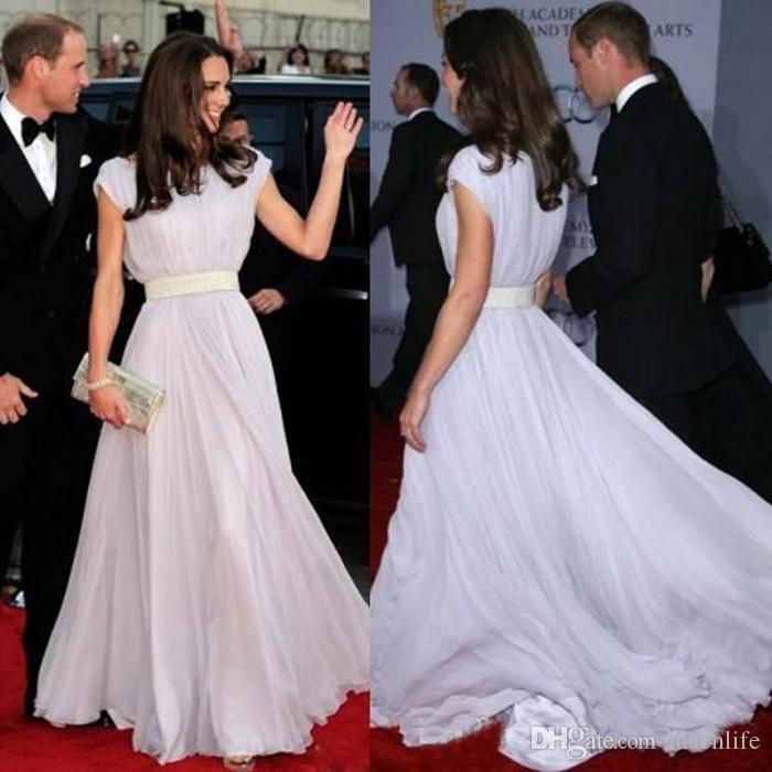 A Line Scoop Kate Middleton Cap Sleeve Prom Dresses Custom Chiffon Evening Gowns Celebrity Long Women Formal Dresses