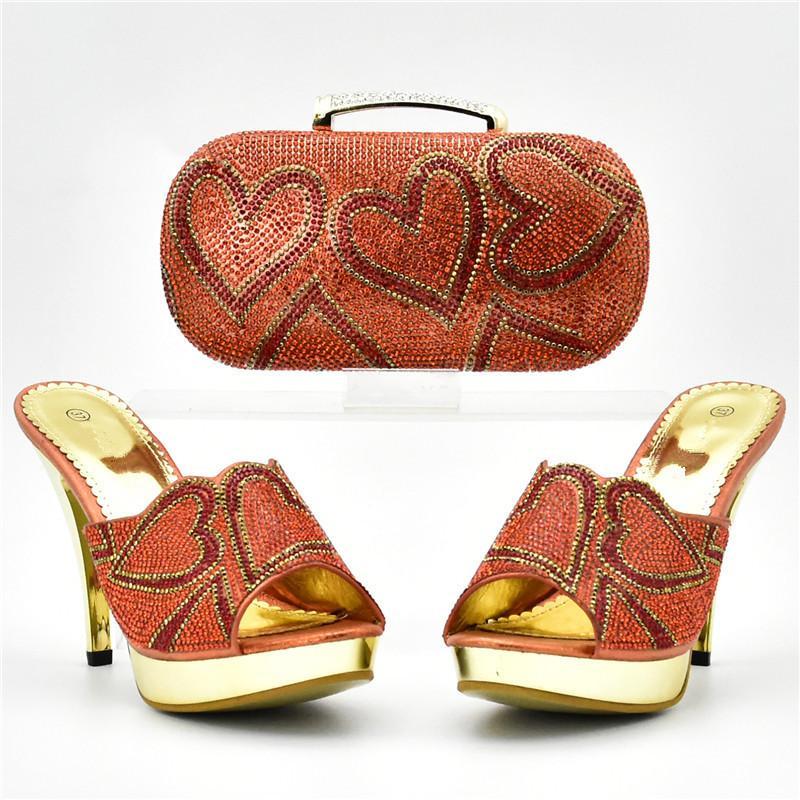 Lo último en Zapatos y bolsos italianos para combinar Zapatos con Bolsa con decorada diamantes de imitación, Zapatos de boda nigerianos para