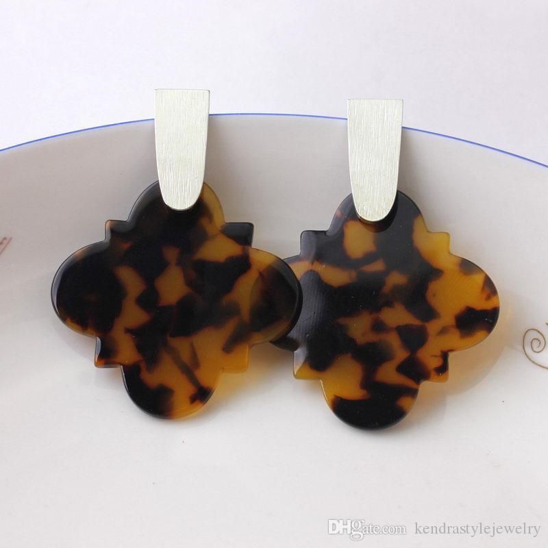 Fashion Kendra Style Designer Copper Polised Bar Inspired Leopard Acrylic Resin Quatrefoil Magnolia Dangle Drop Earrings for Women