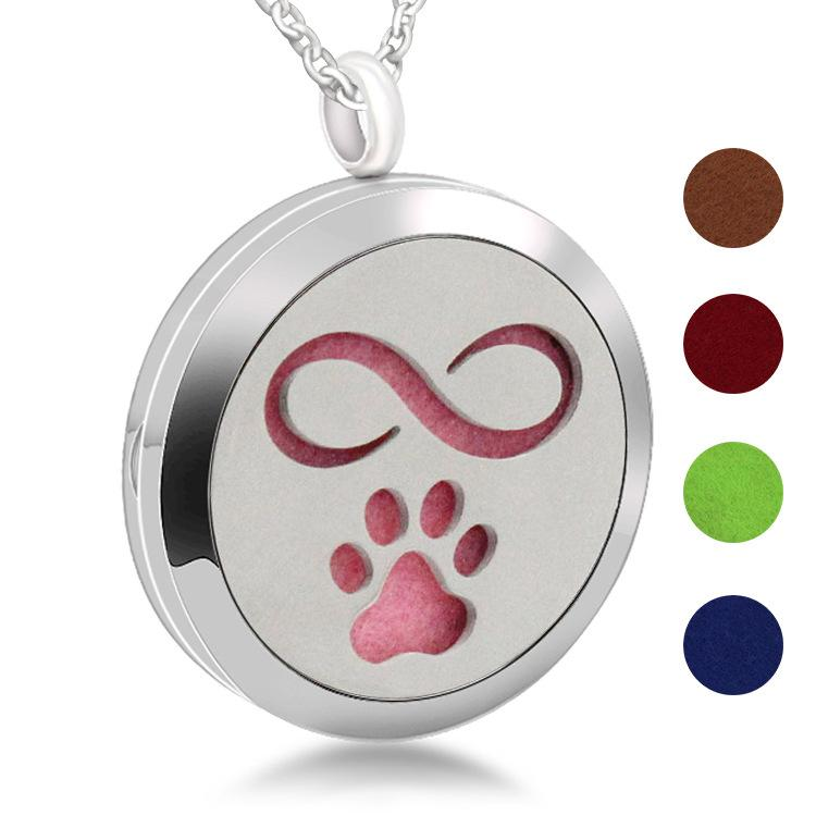 Dog Palm 25mm Diffuser 316L Stainless Steel Necklace Pendant Aroma Essential Oil Diffuser Locket