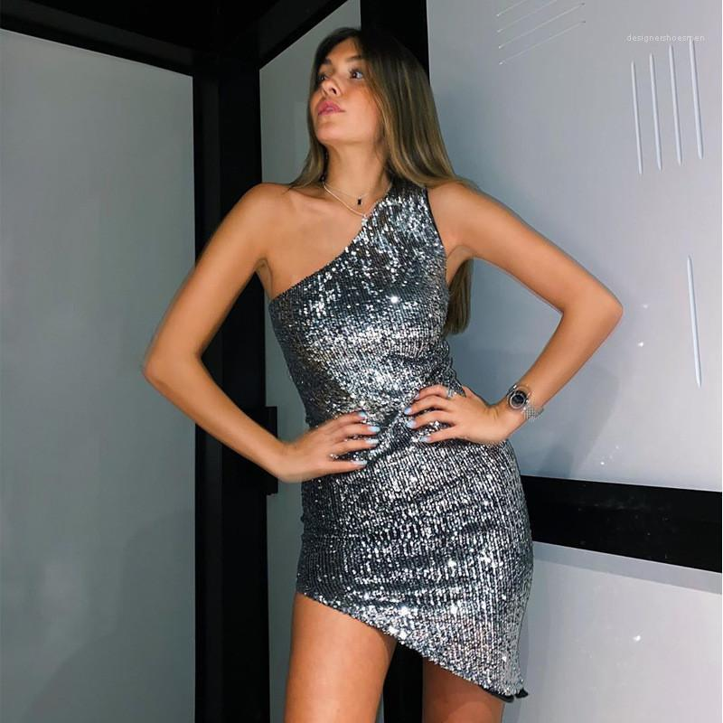 Weibliche Kleidung Frauen Designer Pailletten Kleider Sexy Schräge Schulter Bodycon Kleider Casual Sleeveless Einfarbig Kleider