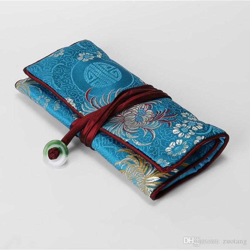 ジェイドフラワーシルクジュエリーロール3ジッパーポーチドローストリングバッグ旅行ジュエリー化粧品収納袋携帯用折りたたみ粧バッグ女性ギフト