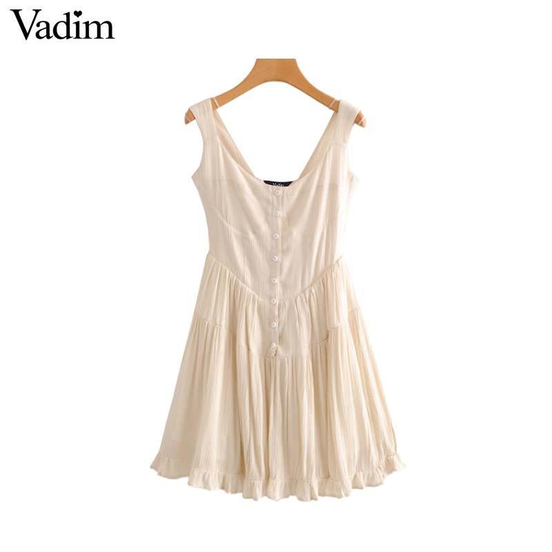 Mulheres por atacado doce ruffles mangas plissadas dress v neck botões sem costas tiras chiques vestidos sólidos chiques vestidos qa856