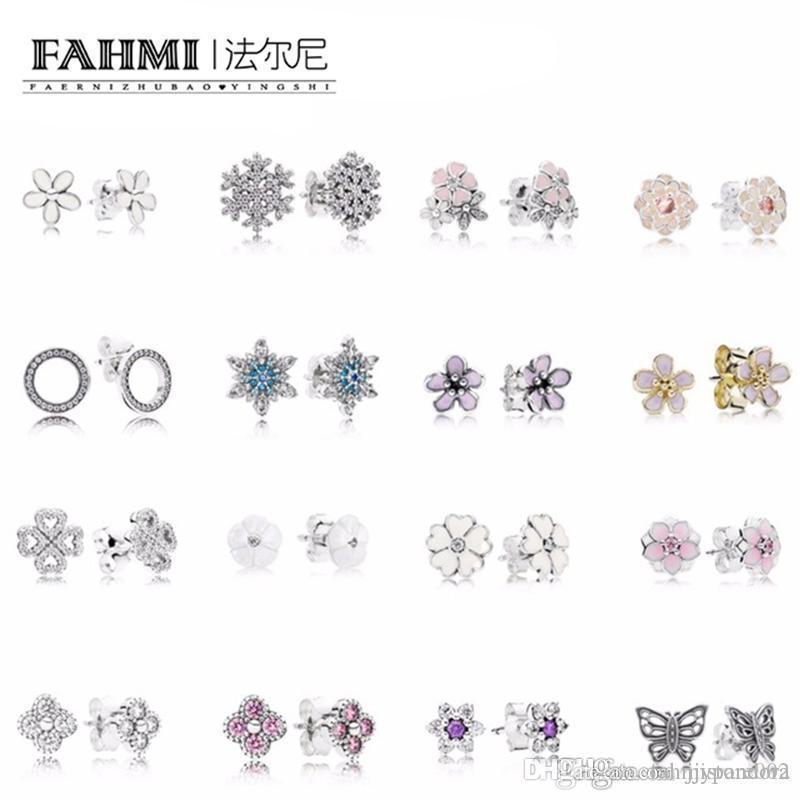 WPENNYI 100% 925 Sterling Silver Jewelry fiocco di neve perline di fascino di modo Orecchini di cristallo per il regalo trasporto libero delle donne