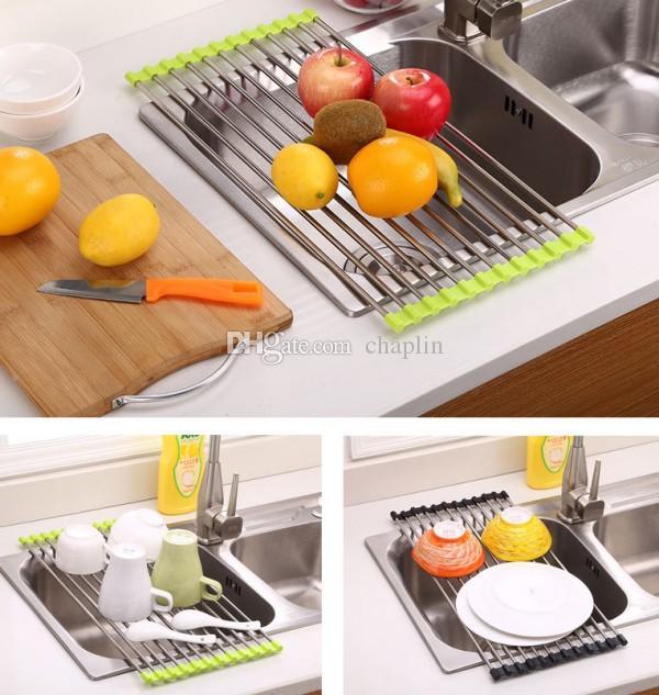 Fregadero de cocina plato escurridor 37x23 cm Acero inoxidable antideslizante plegable secado Rack titular para tazón fruta vegetal 12 piezas tubos