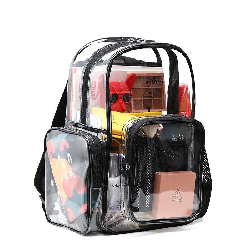 Travel backpack pvc transparent beach bag Korean female students jelly handbag shoulder bag waterproof custom