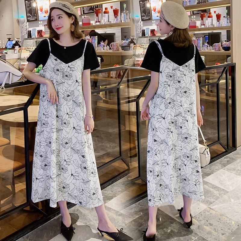 # 9399 de la camiseta + vestido de ropa de maternidad suelta de manga corta con estilo negro T + vestido para las mujeres embarazadas vestido de mamá