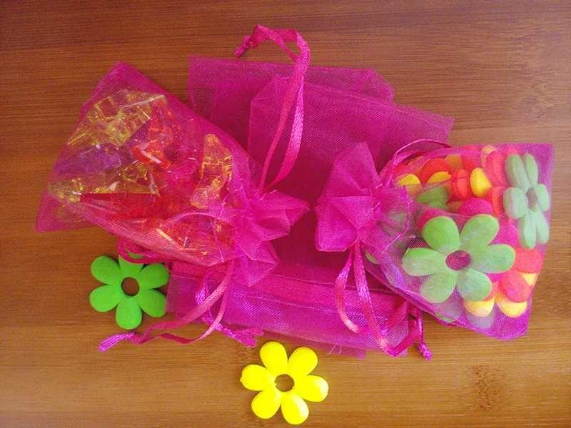 25 * 35 cm 100 adet Gül İpliği Küçük Kırmızı İpli / Hediye // Şeker Organze Paketleme Çantası Çanta Takı Için Şeffaf Çanta CCCEO