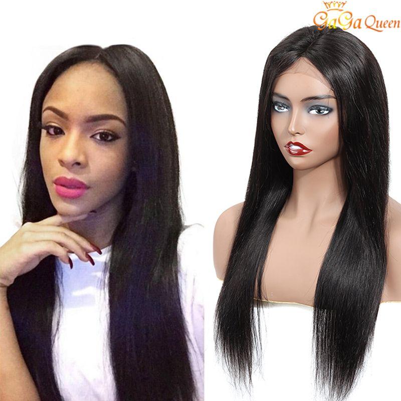 150٪ الكثافة الماليزي مستقيم الشعر الرباط الباروكات غير المجهزة الشعر الماليزي الإنسان الباروكات طبيعة اللون 13X4 الرباط الباروكات أمامي