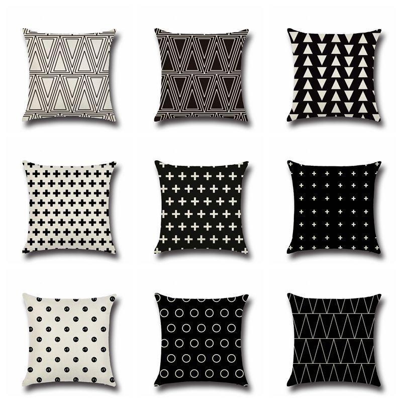 Estilo nórdico moderno preto e branco capas de almofada geométricos Triângulos Stripes Pattern fronha de algodão Linho fronha de travesseiros