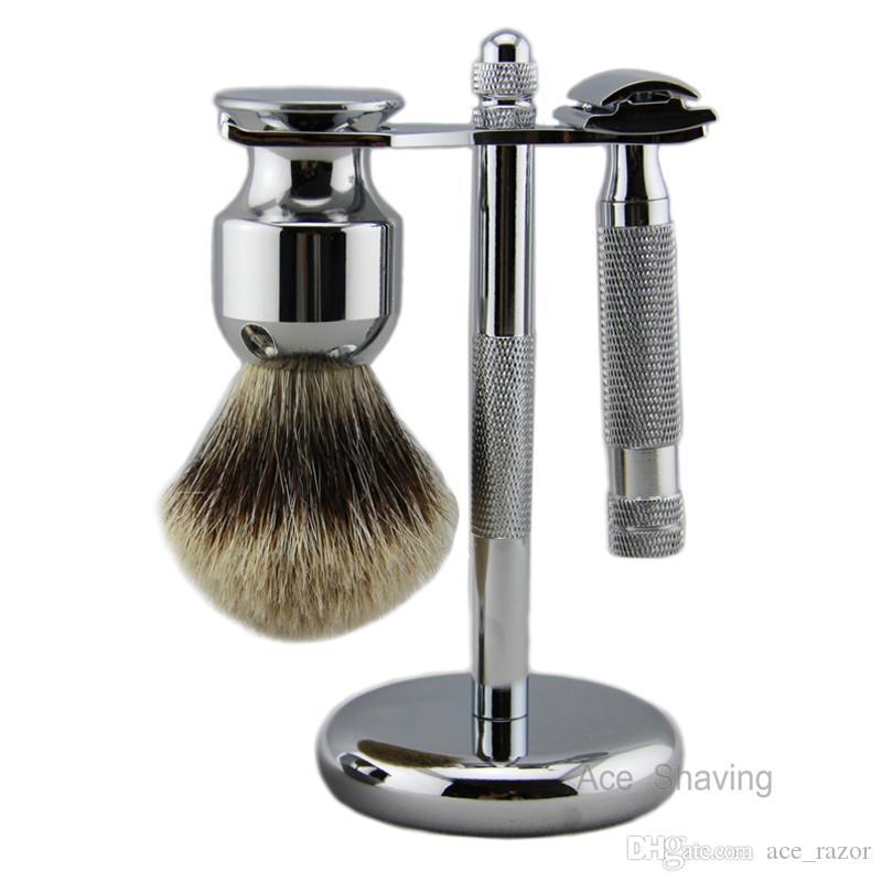 Shaving Set Kit Double Edge Safety Beard Razor DE Blades Finest Badger Hair Brush Metal Shaver Stand Holder