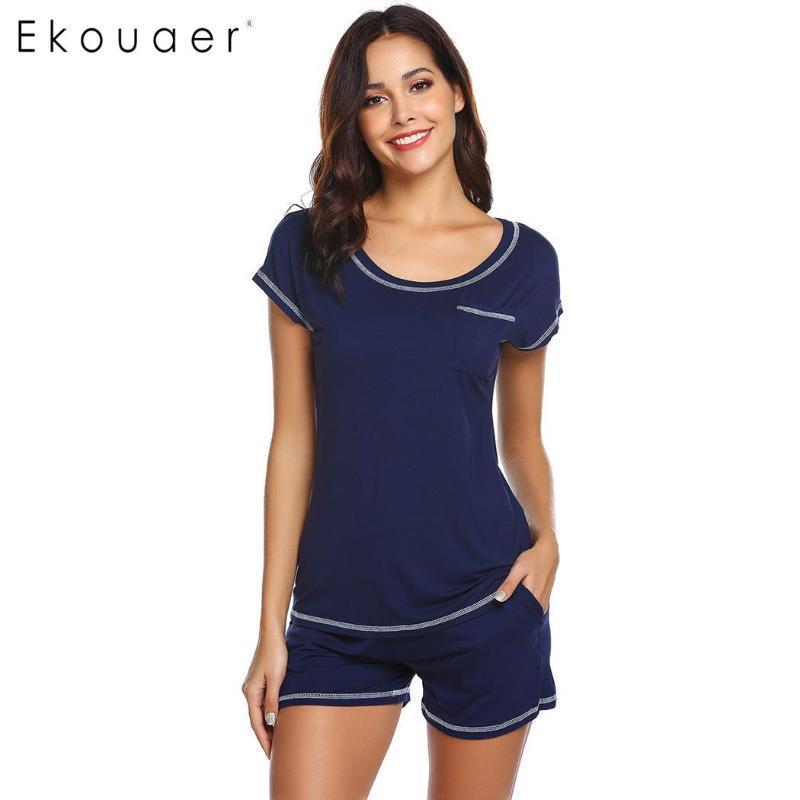 Frauen Nachtwäsche Ekouaer Frauen Pyjamas Sets Casual Oansatz Kurzarm Lose Pijama Set Damen Gemütliche Nachtwäsche Anzüge Home Kleidung